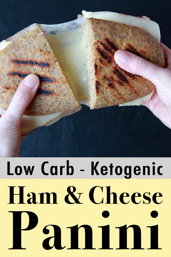 Pinterest Pin for Low Carb Keto Ham and Chese Panini