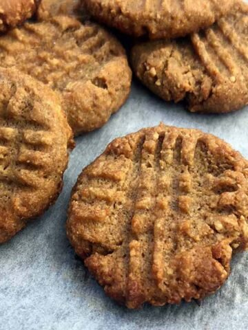 a pile of Keto Peanut Butter Cookies