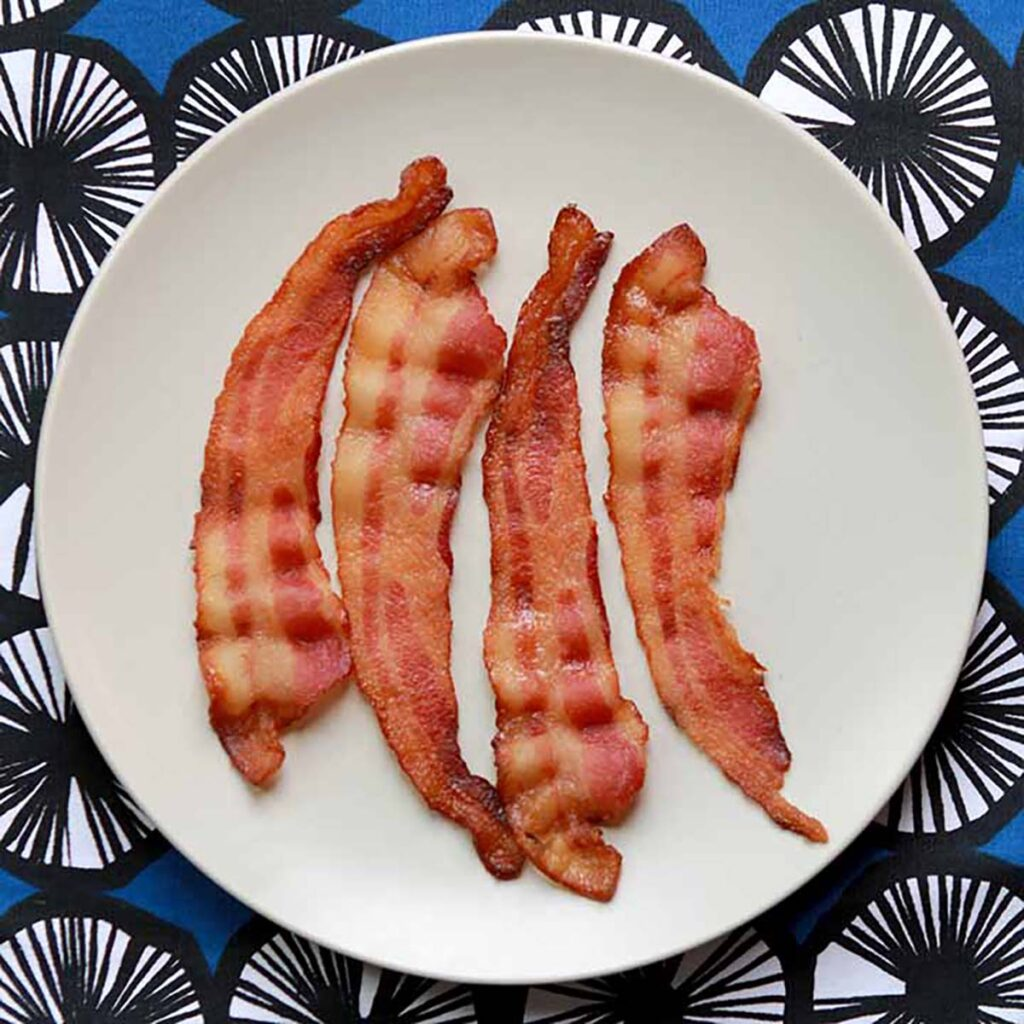 a plate of bacon