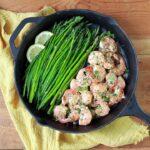 Low Carb Keto Shrimp and Asparagus with Lemon Garlic Sauce