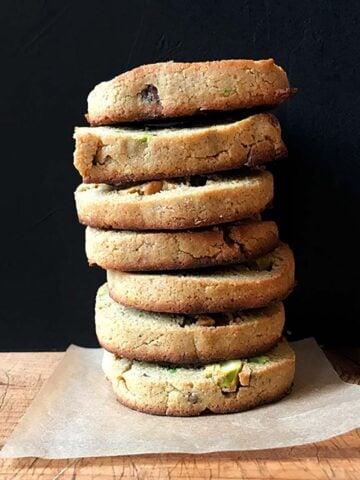 a stack of Keto Pistachio Shortbread Cookies