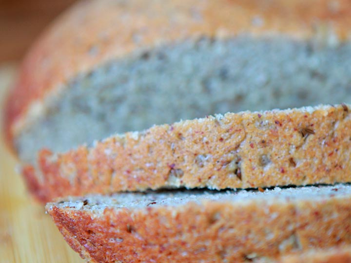 a close up of several slices of real low carb rye bread