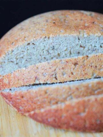 a loaf of Keto Rye Yeast Bread