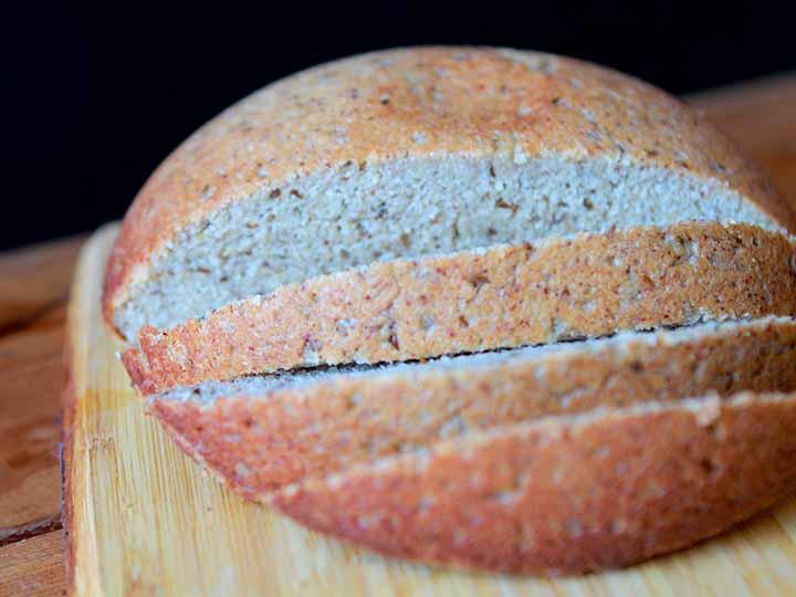 a loaf of Keto rye bread on a cutting board