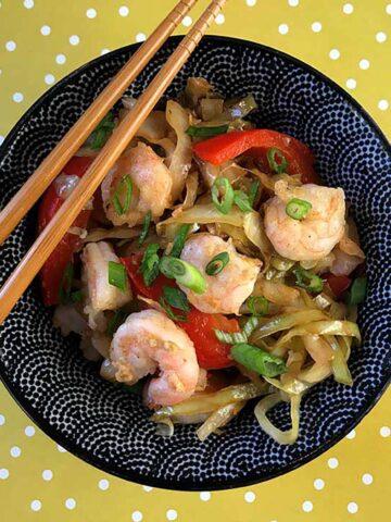 a bowl of Keto Shrimp Stir Fry