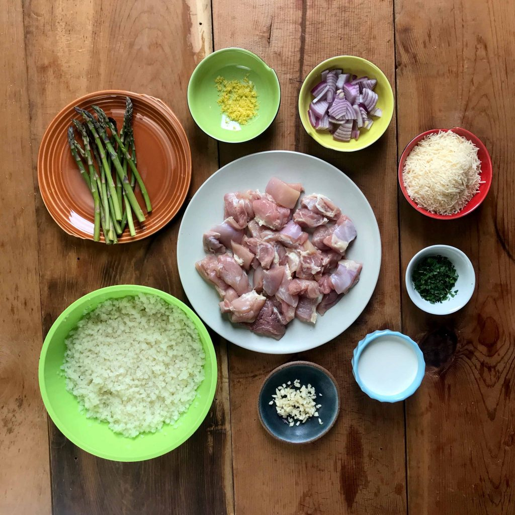 Low Carb Keto Chicken Asparagus Risotto Ingredients