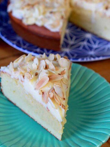 a slice of Keto Almond Torte