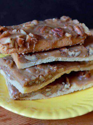 a pile of Keto Pecan Pie Bars