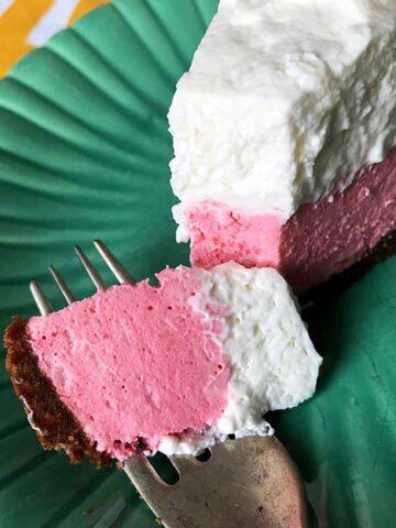 a slice of Keto Strawberry Cream Pie