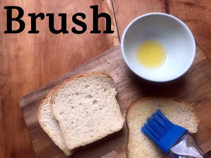 Step 1 Brush low carb bread with butter or oil
