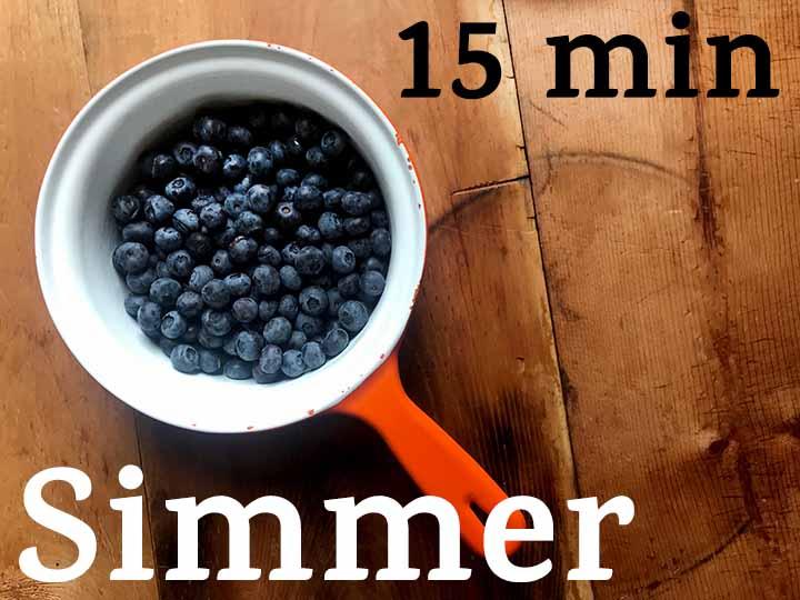 Step 1 Simmer Blueberries, Lemon Juice and Sweetener