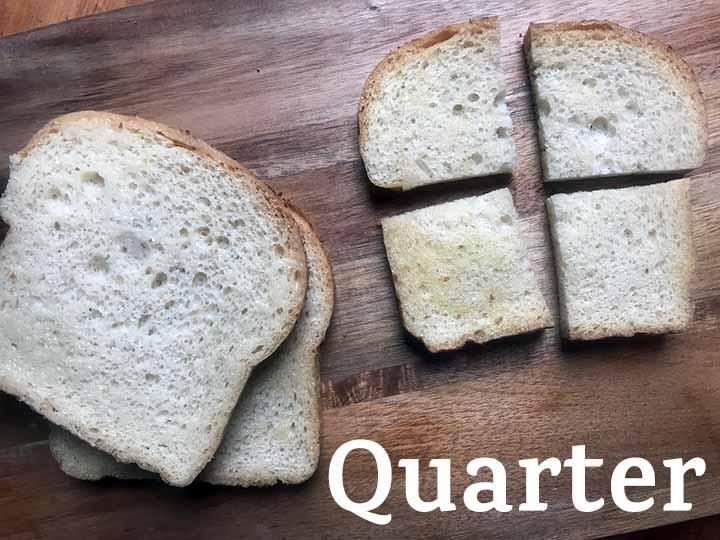 Step 2 cut keto bread into quarters