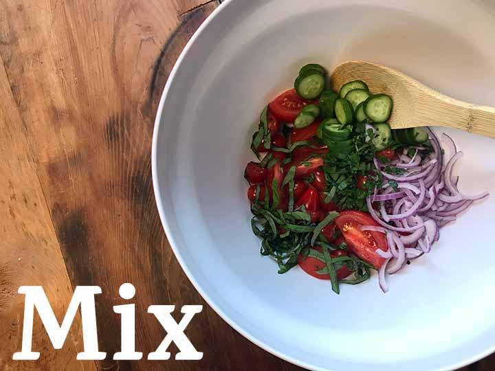 Step 3 Mix ingredients for Panzanella Italian Bread Salad