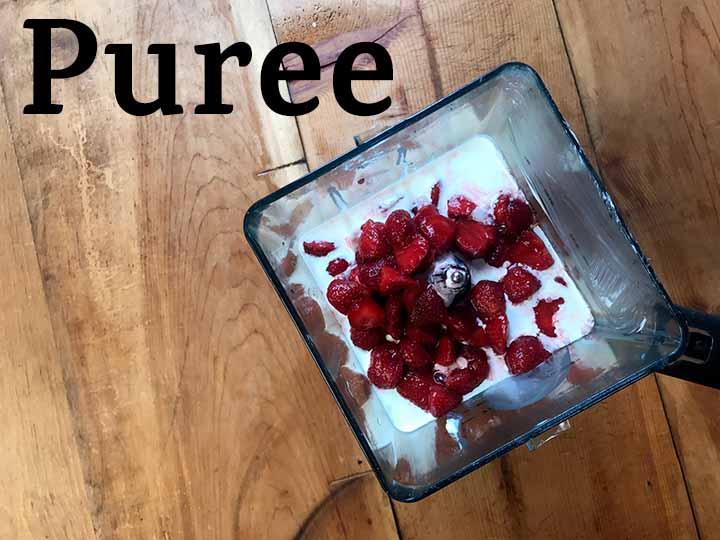 Step 3 Puree Strawberries, Yogurt, Cream and Gin