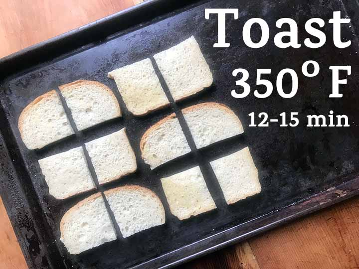 Step 3 toast low carb bread at 350 degrees F for 12-15 minutes