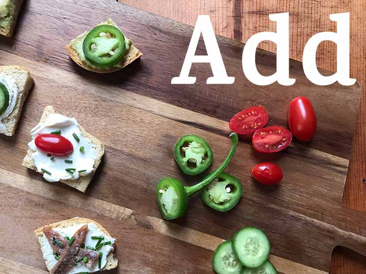 Step 5 Add savory and sweet ingredients to your low carb keto melba toast appetizers