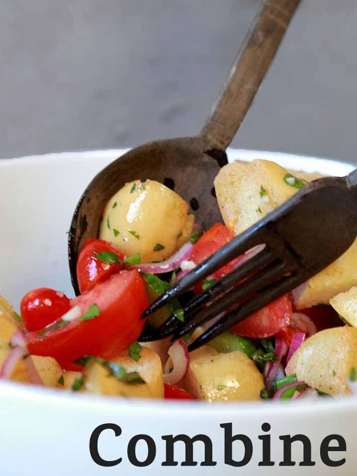 Step 5 Combine all ingredients for Panzanella Italian Bread Salad