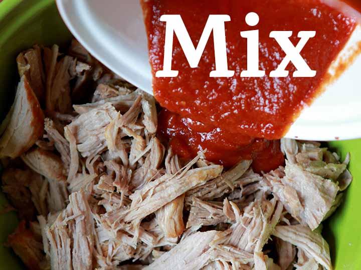 Step 6 Mix together pork and BBQ sauce