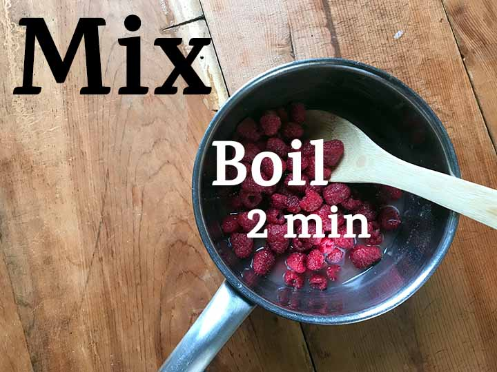 Step 7 boil raspberries for low carb raspberry sauce