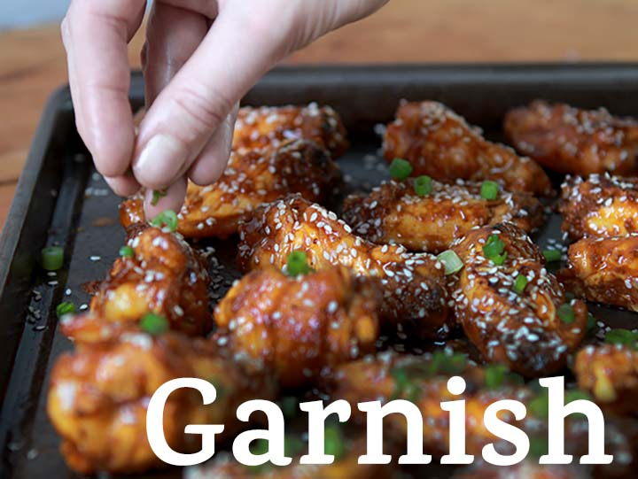 Step 7 Garnish the Sugar=Free Gluten-Free Spicy Korean Chicken wings with sesame seeds and scallions