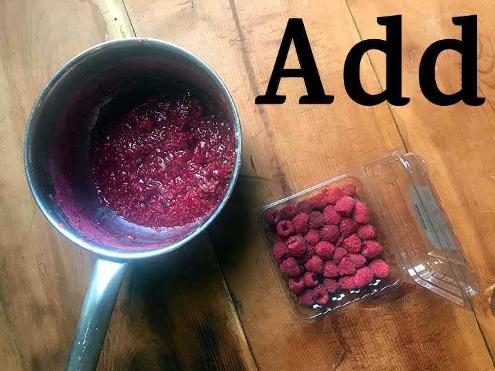 Step 9 Add more raspberries to low carb raspberry sauce
