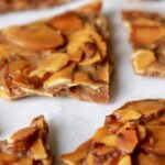 Pieces of low carb almond brittle bark