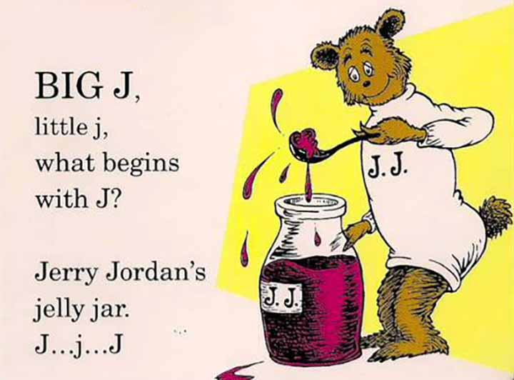 A page from Dr. Seuss's ABC's about Jerry Jordan's Jelly Jar