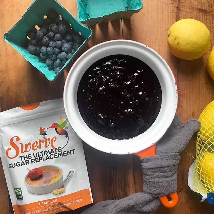 Ingredients for Sugar-Free Blueberry Jam Blueberries, Lemons, Swerve Sweetener and Xanthan Gum