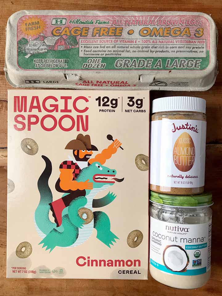 Ingredients: eggs, almond butter, coconut butter and Magic Spoon cinnamon cereal