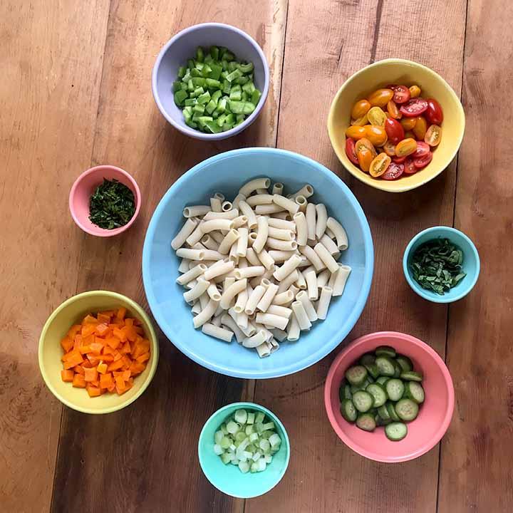 Ingredients for Real Low Carb Macaroni Salad