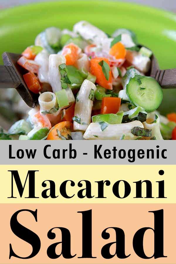 Pinterest pin for real healthy keto macaroni salad