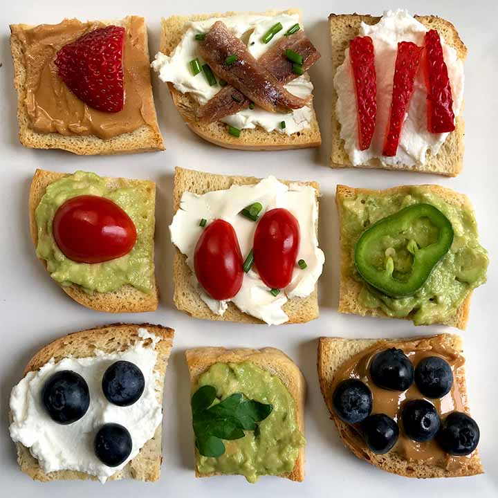Keto melba toast appetizers with fruit and vegetables