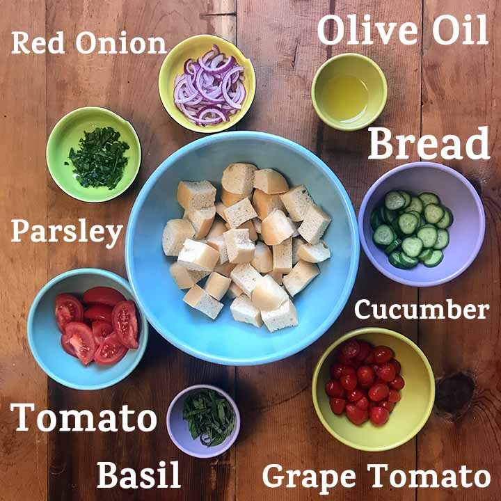 Ingredients for Low Carb Panzanella Italian Bread Salad