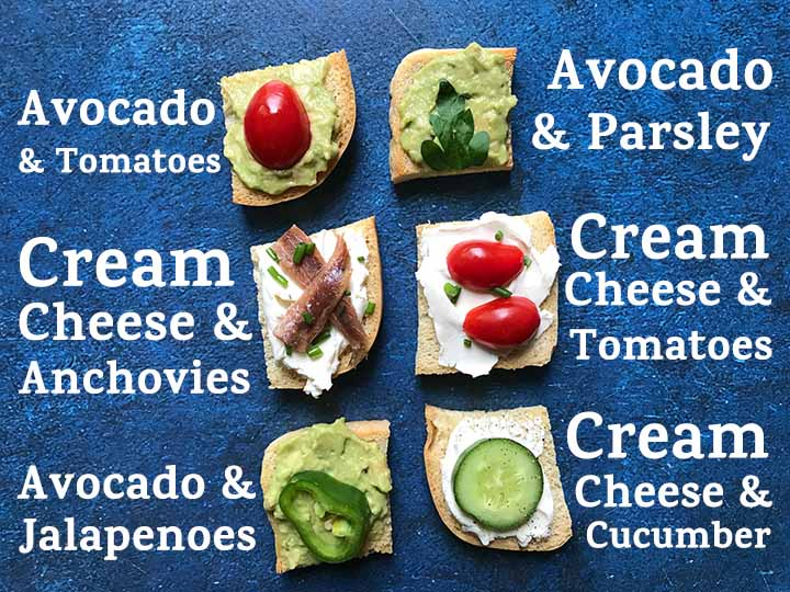 Savory Ingredients for low carb melba toast Hors d'oeuvre