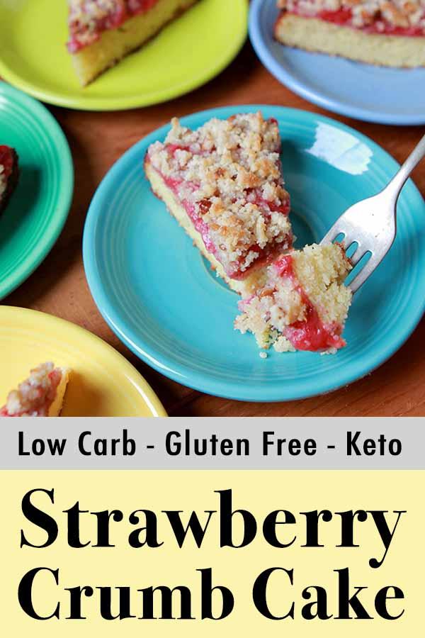 Pinterest pin for sugar-free gluten-free strawberry coffee cake