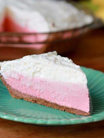 a slice of Keto Strawberry Jello Cream Pie