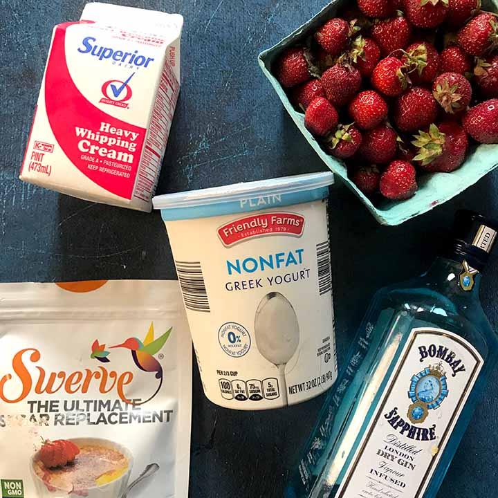 Ingredients for Ketogenic Strawberry Frozen Yogurt
