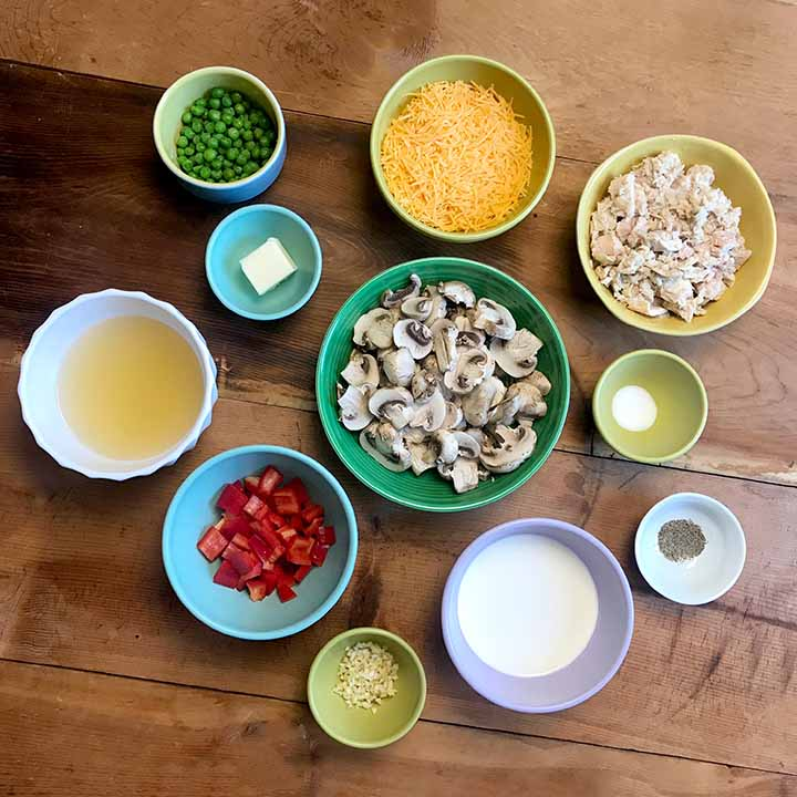 Ingredients for healthy tuna noodle casserole