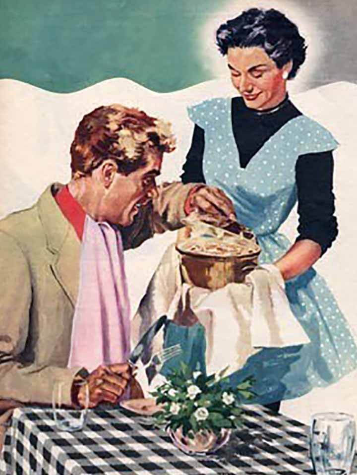 A vintage illustration of a wife bringing a pan of tuna noodle casserole to her husband
