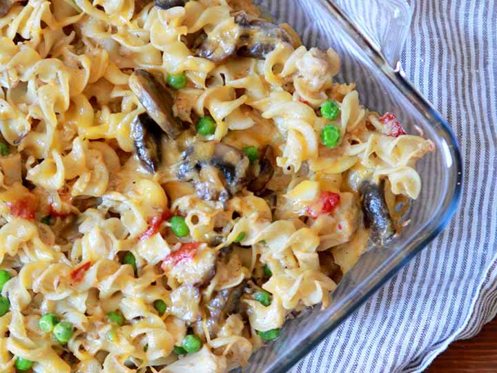 A top down shot of a pan of paleo tuna noodle casserole