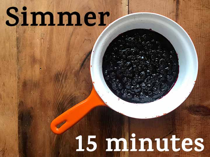 Step 3 Simmer blueberries for 15 minutes