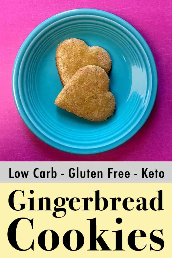 This recipe for low carb and Keto gingerbread cookies is gluten-free, sugar-free and grain-free.  (All the free's.)  And each cookies has just 2g net carbs.