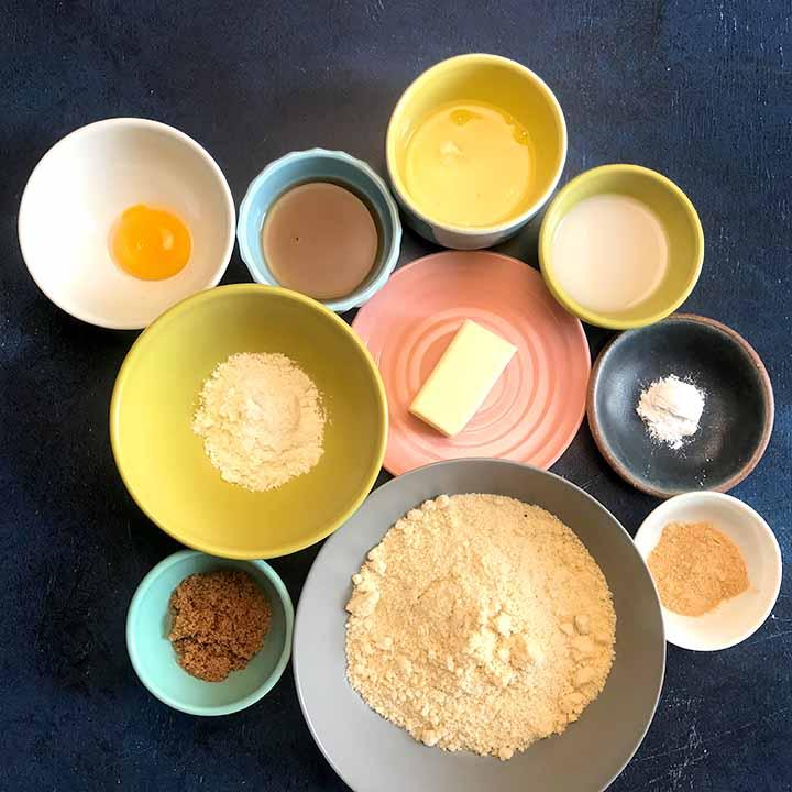 Bowls of ingredients for Keto gingerbread cookies