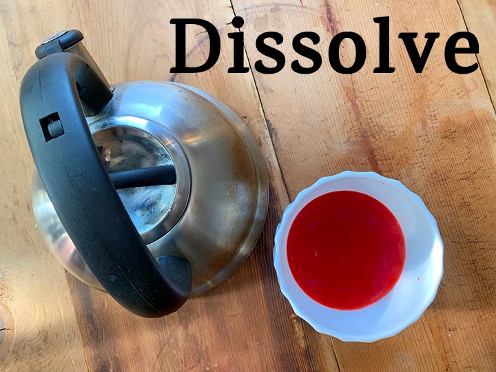 step 1 dissolve Jello in boiling water