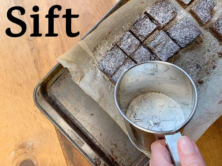 step 12 sift powdered sweetener over sugar-free avocado brownies