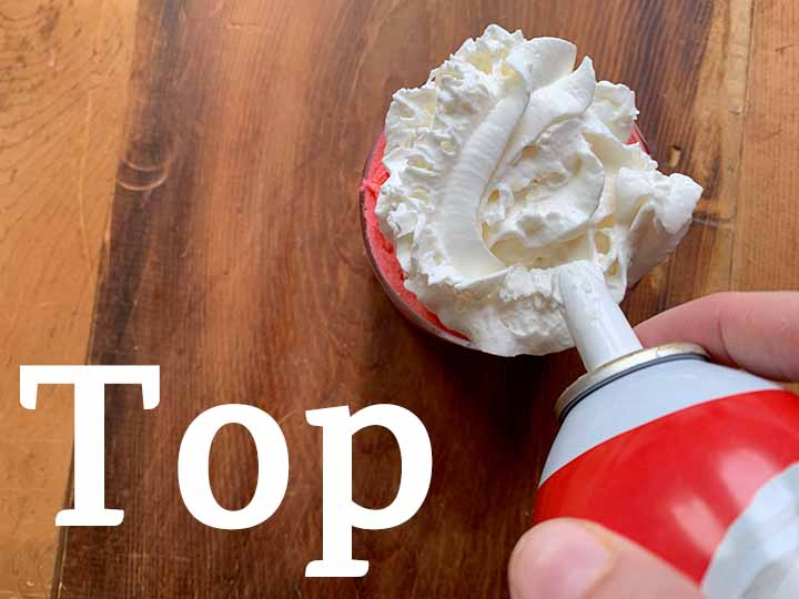 step 6 top the low carb Jello whips with Reddi Whip