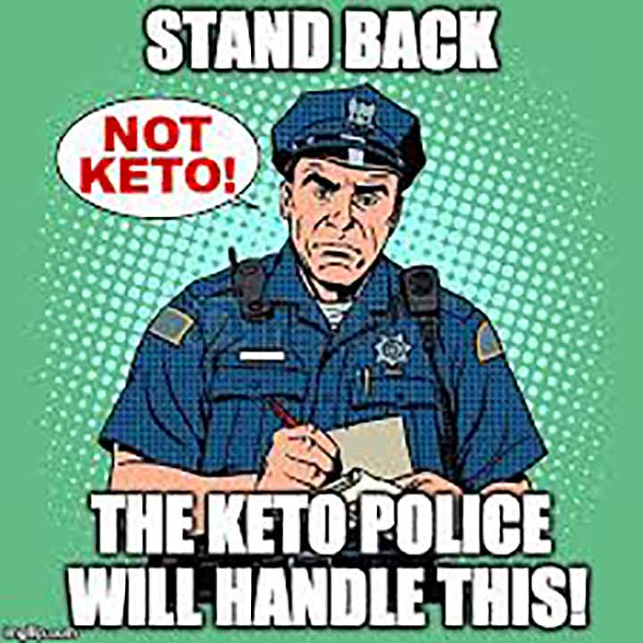 A drawing of a police man saying standback, the Keto police will handle this!