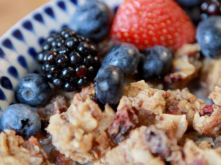 close up of berries and Keto granola cereal
