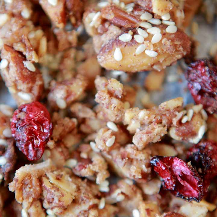 close up of grain-free granola