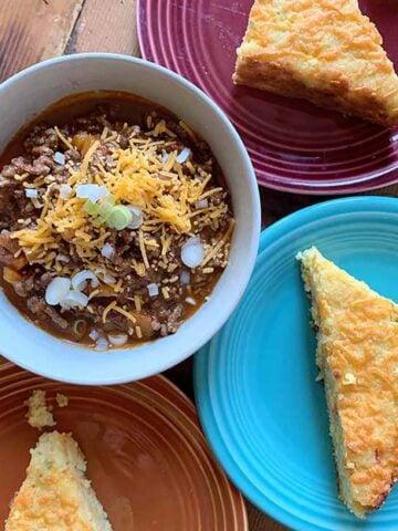 a bowl full of Keto Chili Con Carne with Cornbread